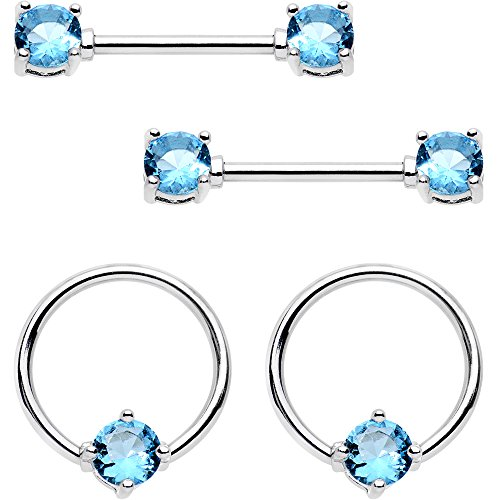 Body Candy Steel Blue Accent BCR Captive Ring Straight Barbell Nipple Ring Set of 4 14 Gauge 9/16