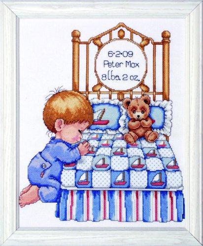 Tobin T21710 14 Count Bedtime Prayer Boy Birth Record Counted Cross Stitch Kit, 11 by 14-Inch (Boy Birth Record)