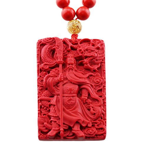 FOY-MALL Fashion Natural Cinnabar Carved Kwan Kung Pendant Necklace XL1350M]()