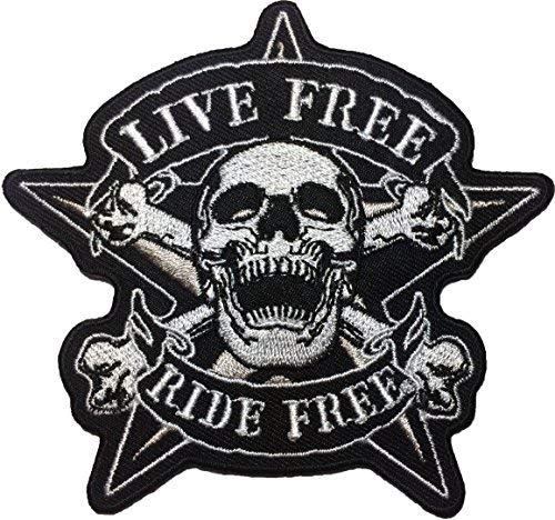 Reaper Star - Papapatch Live Freedom Ride Freedom Skull Star Cross Bone Biker Rider Motorcycle Chopper Jacket Vest Costume Sewing on Iron on Embroidered Applique Patch (IRON-RIDE-FREE-SKULL-CROSS)