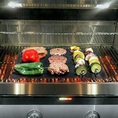 showsing Tapis de Cuisson pour Barbecue et Four, Tapis de Barbecue, Tapis Grill Barbecue, Antiadhésif, Durables, Réutilisables et faciles à Nettoye, Parfait pour BBQ et Four 2Pcs