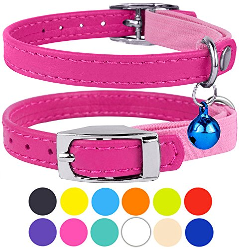 "CollarDirect Leather Cat Collar, Cat Safety Collar with Elastic Strap, Kitten Collar for Cat with Bell Black Blue Red Orange Lime Green (Neck Fit 6""-7"", Pink)"