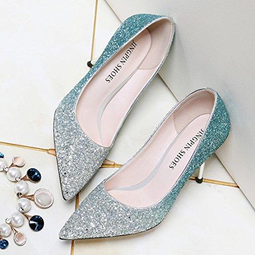 Stilettos Femmes Amérique Boîtes Talons Et Sexy Hauts Paillettes Nuit Europe Chaussures Mode de blue pour DKFJKI EaqwP4q