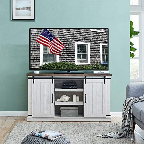 Dacall Wooden TV Stand with Sliding Barn Door for TVs up to 55 inches Greyish-White