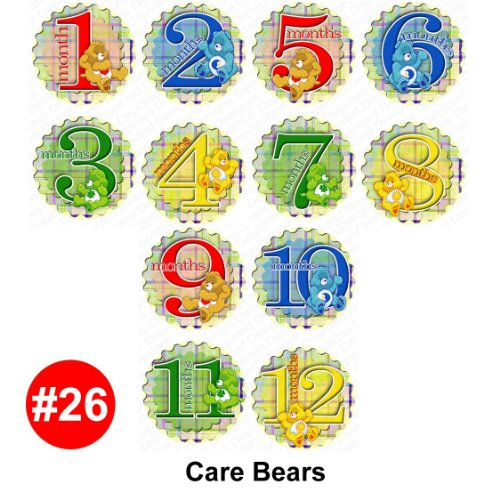 1-12 Month Onesie Stickers - Care Bears Baby Month Onesie Stickers Baby Shower Gift Photo Shower Stickers, Baby Shower Gift by OnesieStickers -