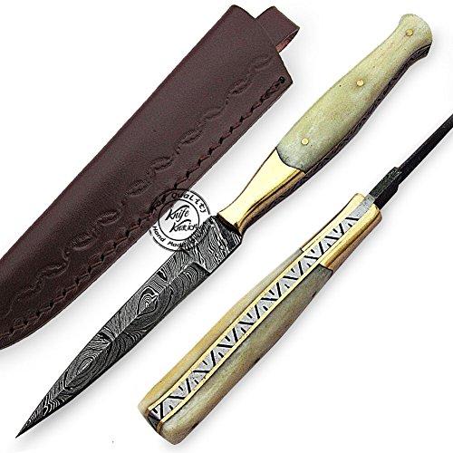 Beautiful Camel Bone Damascus Slim Dagger Hunting Knife, Double Edge Prime Quality