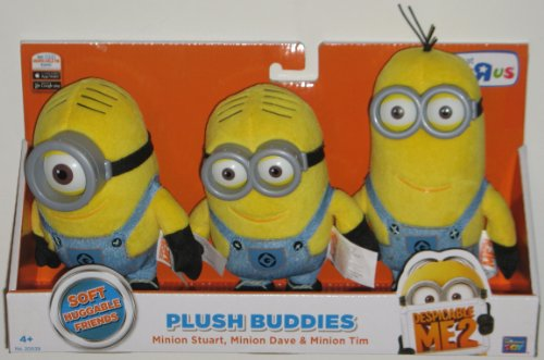 Thinkway Despicable Me 2 Plush Buddies Exclusive 3-Pack with Minion Stuart, Minion Bob and Minion Kevin -