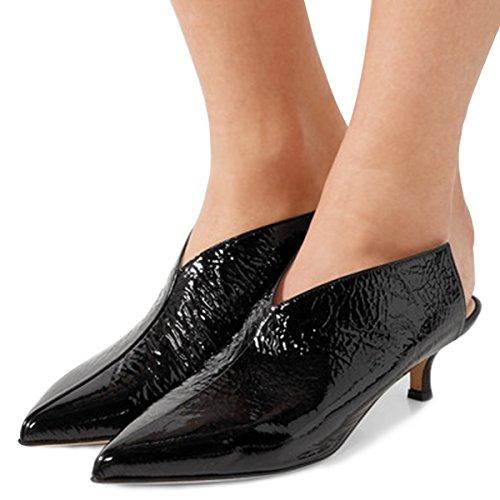 XYD Women Pointed Toe Kitten Mules Low Heels Slip On Pumps Slide Sandals Clog Shoes Black 7 (Mule Kitten)