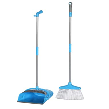 TreeLen Broom and Dustpan Set, Broom with Dust Pan Combo Set for Office and Home Standing Upright Sweep Use, Blue