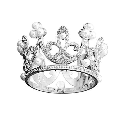 e Topper Crystal Pearl Tiara Children Hair Ornaments for Wedding Birthday Party Cake Decoration (Silver) ()