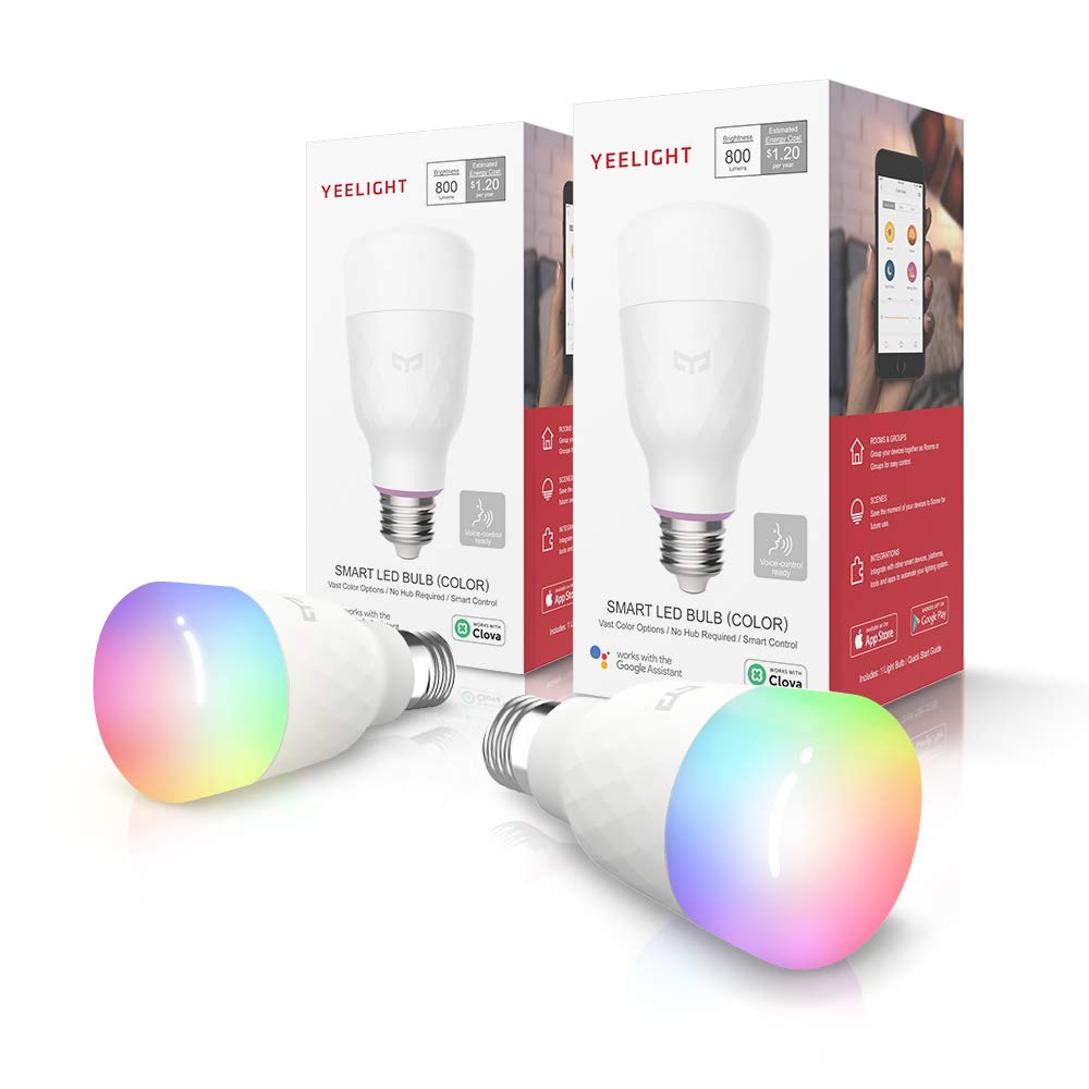 2 Pack Yeelight Smart Light Bulb,Multicolor,Dimmable,App & Voice controll Wi-Fi Smart Color Changing Light Bulb,Alexa Compatible,no hub Required,A19 60W Equivalent Smart Home RGB LED Bulbs