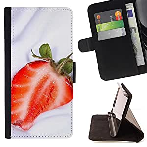 - Fruit Macro Strawberry Cream - - Monedero PU titular de la tarjeta de cr????dito de cuero cubierta de la caja de la bolsa FOR Samsung Galaxy S4 IV I9500 RetroCandy