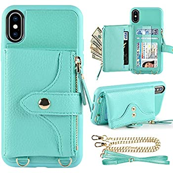 LAMEEKU Wallet Case for iPhone Xs and iPhone X 5.8 inches, Credit Card Holder Leather Wallet Case with Crossbody Strap Wrist Strap Zipper Leather Case Compatible with iPhone Xs/iPhoneX - Green