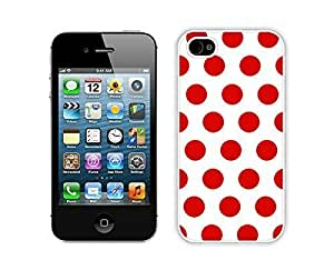 Zheng caseZheng caseSlim Apple iPhone 4/4ss White Case Durable Soft Silicone TPU Polka Dot White and Red Speck Elegant Cell Phone Case Cover for iPhone 4/4s