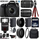 Canon EOS 80D DSLR Camera with 18-135mm is STM Lens & 55-250mm is II Lens + Flash + UV FLD CPL Filter Kit + Wide Angle & Telephoto Lens + Case + Tripod + Card Reader- International Version