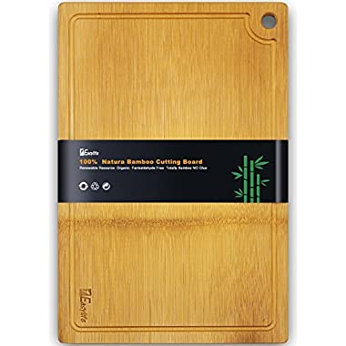 1Easylife Organic Bamboo Cutting Board - Extra Large Size 18x12 Thick with Drip Groove, Guarantee Never Crack, Perfect Housewarming Gift