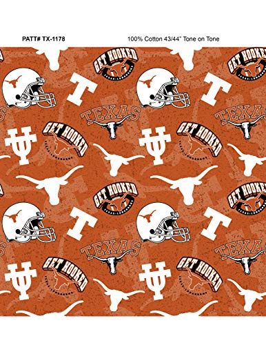 University of Texas Cotton Fabric with New Tone ON Tone Design Newest -