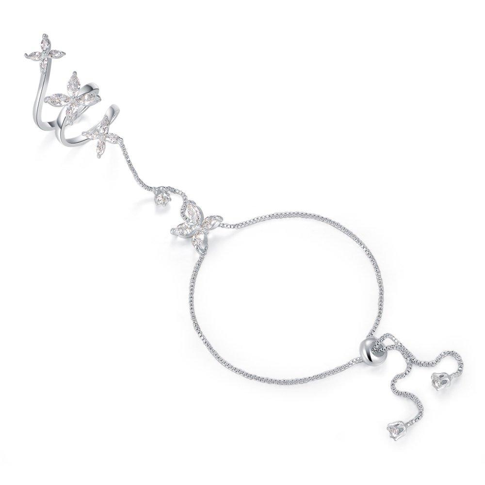 Dnswez Fashion Cubic Zirconia Flower Palm Bracelet Ring Slave Chain Hand Harness Handlet R1176
