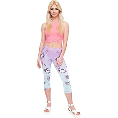 Ababalaya Women's Soft Elastic Waist 3D Print Leggings Athletic Capri for Yoga Sports Workout