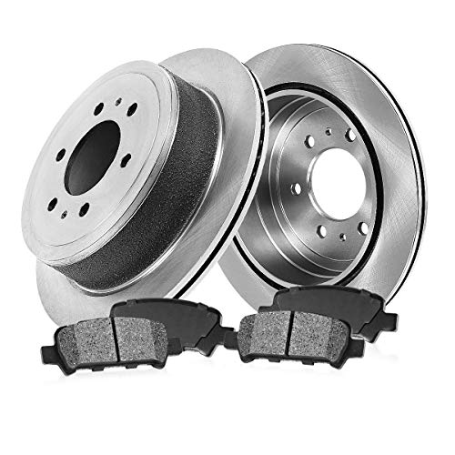 (REAR 330 mm Premium OE 6 Lug [2] Brake Disc Rotors + [4] Metallic Brake Pads )
