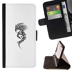 Momo Phone Case / Flip Funda de Cuero Case Cover - Arte Tinta Negro Dragón Blanco Resumen - Samsung Galaxy J3 GSM-J300