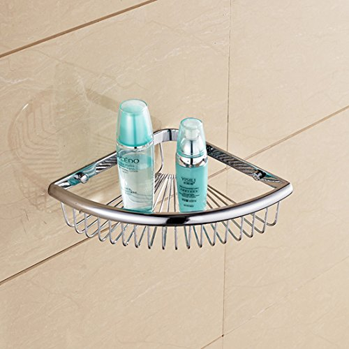 Bathroom Angle Corner Storage Wire Shower Basket Wall Mount Tub and Shower Soap Wire Basket Cosmetic Holder Toilet Paper Shelf Triangle Orgnizer Kitchen Bathroom Bedroom Accessories (Chrome Finish)