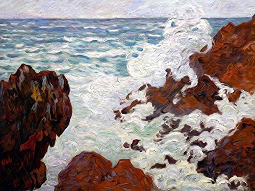 - Storm Jean-Baptiste-Armand Guillaumin Water Ocean sea Rock Cliffs Accent Tile Mural Kitchen Bathroom Wall Backsplash Behind Stove Range Sink Splashback One Tile 10