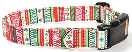 Gingerbread Stripes - Ruff Roxy Christmas Collection 2016, Handmade Fabric Dog Collars (Gingerbread Stripes, M)