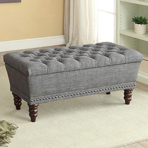 Worldwide Homefurnishings Inc. Hampton Linen Tufted Storage Bench Grey by Worldwide Homefurnishings Inc.