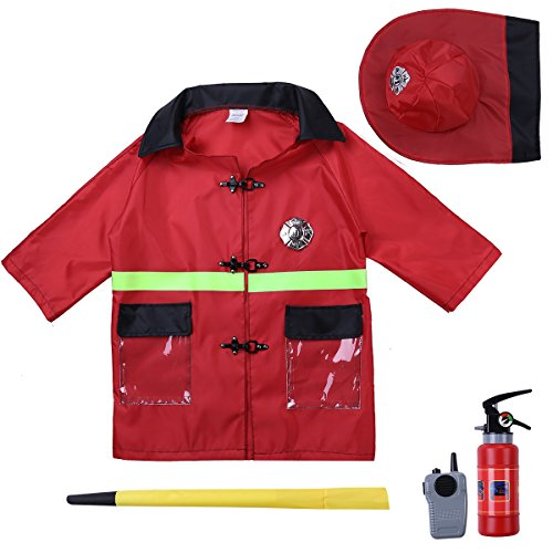 ACSUSS Boys Girls Halloween Cosplay Fancy Dress Up Policeman/Fireman/Doctor Costumes with Accessories Red One_Size -