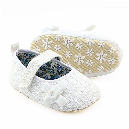 Coohole Pasgeboren Baby Baby Meisjes Haak En Lus Gesp Strik Crib Schoenen Zachte Zool Antislip Sneakers (12, Blauw 1) Wit 2