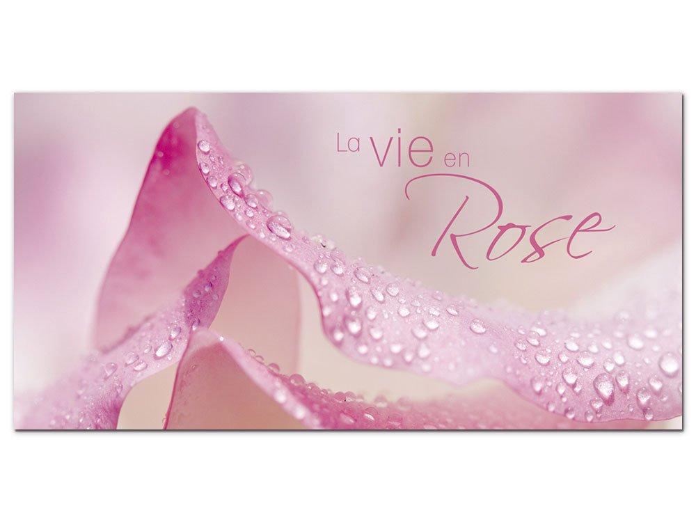 GRAZDesign 100015_001_01_04 Wandbild mit Spruch La Vie en Rose | Blumige Wand-Deko für Wohnzimmer | Glasbild aus Acrylglas (100x50cm)