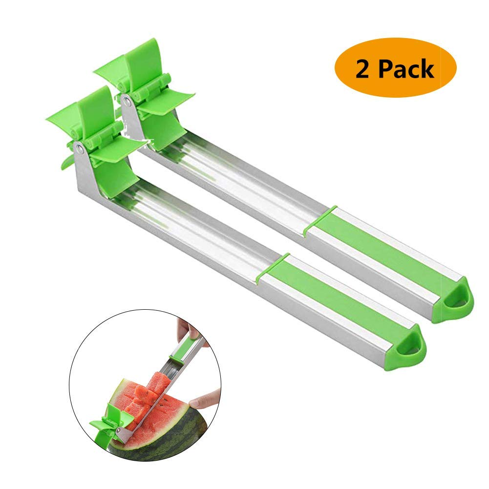 Stainless Steel Watermelon Slicer - Melon and Cantaloupe Fruit Slicer, Carver, Cutter, Knife - Carving and Cutting Tools for Home, Professional Restaurant Chefs - Easy Grip Kitchen Gadgets (2 Pack)