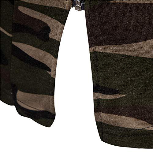 Outwear Army Coat Green Long Men's Hooded Sleeve Zipper Jacket Cardigan Camouflage Blouse MCYs 7zFSn0Pn