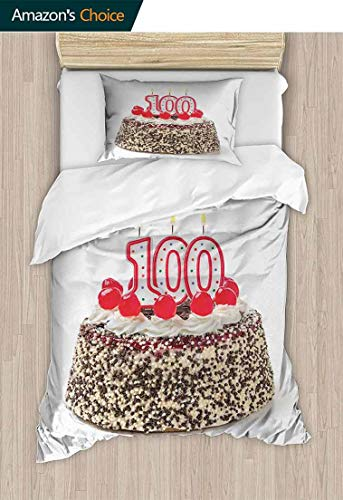- 100th Birthday 2 PCS King Size Comforter Set, Photo of Pastry Party Cake with Candles and Sprinkles Image Celebration, Decorative 2 Piece Bedding Set with 1 Pillow Sham,79 W x 90 L Inches, Multicolor