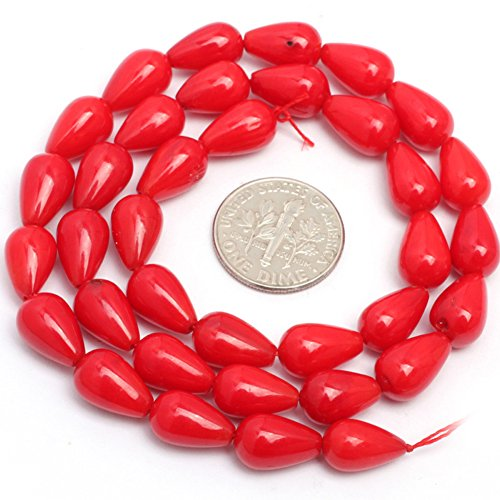 Natural Red Coral Beads (7x12m Dyed Semi Precious Drop Red Coral Gemstone Beads for Jewelry Making Strand 15