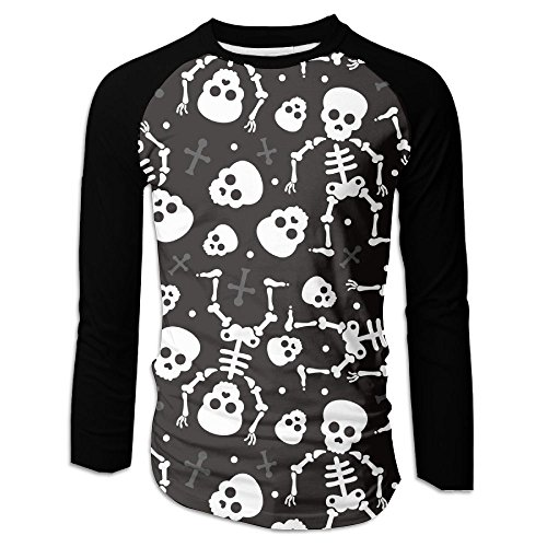 Men's Death Skull Halloween Skeleton Casual Novelty Crew Neck Long Sleeve Raglan Baseball Shirt Gift -