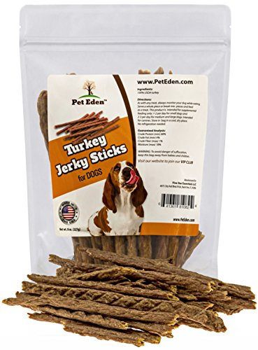 Turkey Jerky Dog Treats Made in USA Only by Pet Eden, 8 oz. Best Limited Ingredient, All Natural, Healthy, Premium Snack Sticks for Dogs. Grain Free Training Treats with No Preservatives