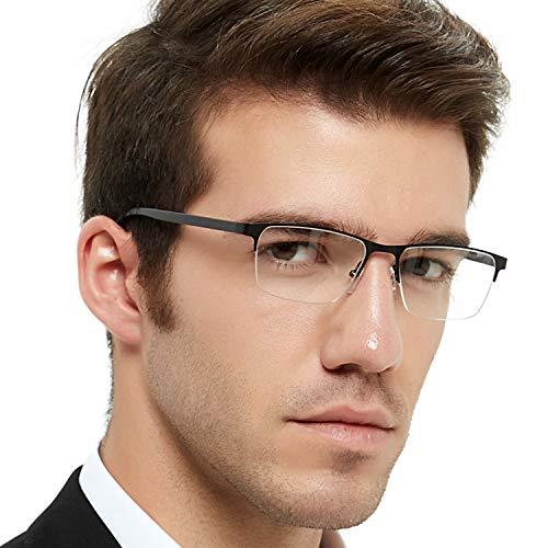 - OCCI CHIARI Men Glasses Frame Rectangle Optical Eyewear Non Prescription Eyeglasses (Gun+Black+Red)