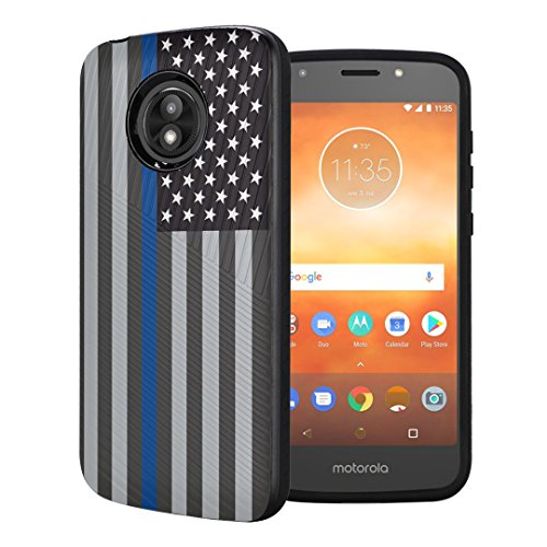(Capsule Case Compatible with Moto E5 Play, Moto E5 Cruise [Embossed Diagonal Lines Hybrid Dual Layer Slim Armor Case Black] for Motorola Moto E5 Play, Moto E5 Cruise - (USA Flag Blue Line))