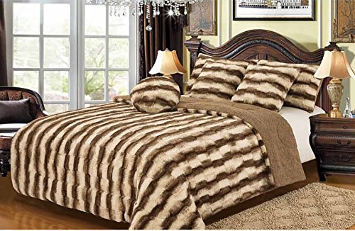 Safari Faux Fur Plush Throw Blanket Comforter – White Tiger Design
