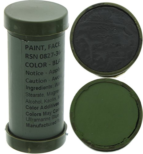 Army Universe Camo Face Paint, NATO Camouflage Military Makeup Paint Sticks (Black & Olive Drab - 1 Stick - 2 Colors)