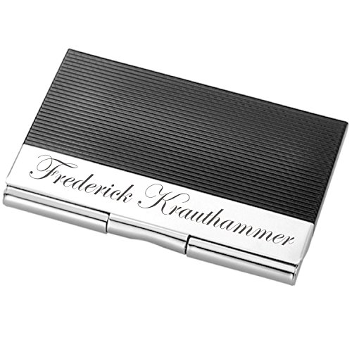 - Personalized Black & Silver Business Credit Card Case Holder Engraved Free