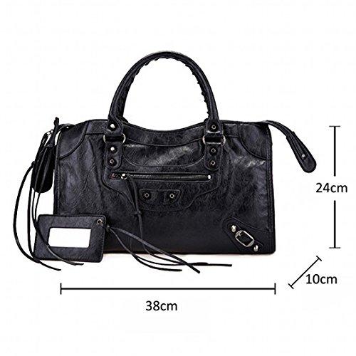 Leather Women 38cm Colors AMA Studed Medium Black Black Motorcycle Bags Size 14 Tqw1f5fx