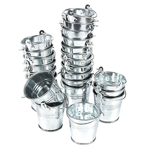 Small Tin Buckets (24-Pack Small Metal Buckets - 2-Inch Silver Mini Pails with Handles, for Party Favors, Candy, Votive Candles, Trinkets, Small)