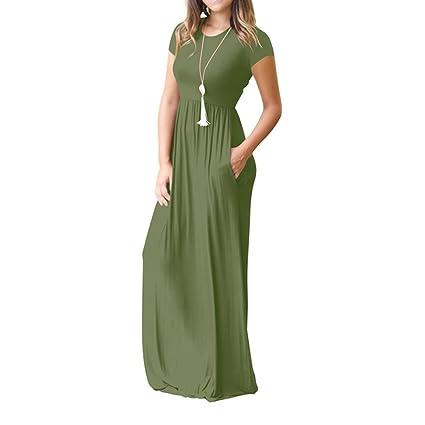 Yesmile 💋💝Vestido de Mujer Vestido Corto Partido Vestido Elegante de Noche para Boda Vestido de Longitud de Piso Suelta Vestido de Manga Corta de las ...