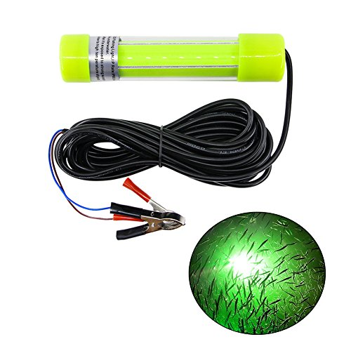 (AGOOL Underwater Fishing Light Super Bright Lure Bait Finder Night Fishing Light 20W LED Lamp 12V-24V with Battery Clip for Shrimp, Prawns, Squid and Fish (Green))
