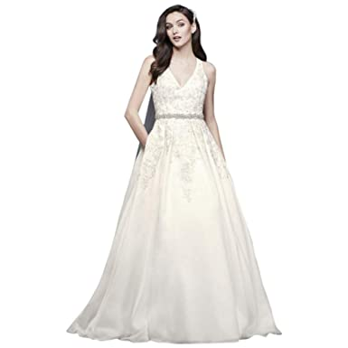 746bb8e7f8e Illusion Back Organza Halter Wedding Dress Style WG3936 at Amazon ...