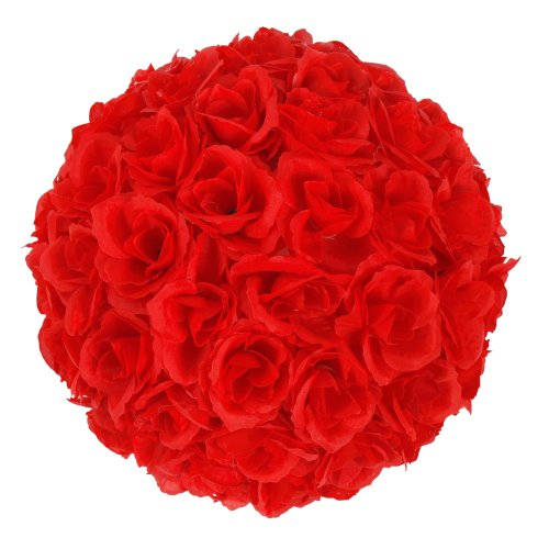 Z ZTDM 10 Inch Artificial Romantic Rose Flower Ball for Home Outdoor Wedding Party Centerpieces Decorations (5PCS, Dark Red)