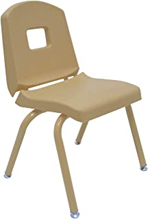"""product image for Creative Colors 1-Pack 14"""" Kids Preschool Stackable Split Bucket Chair in Tan with Tan Frame and Self Leveling Nickel Glide"""